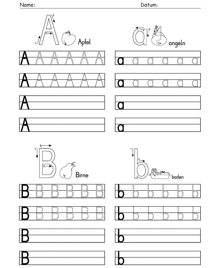 Arbeitsblätter Buchstaben Einsetzen: Ab buchstaben üben j ...